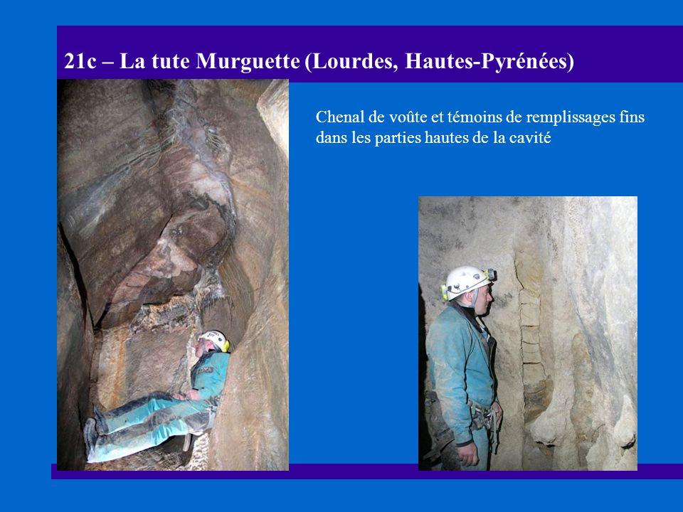 21d – La tute Murguette (Lourdes, Hautes-Pyrénées) Banquettes-limites et pendants dus à la remontée du niveau de base (NdB), secteur dit du « méandre » vers -10 m.