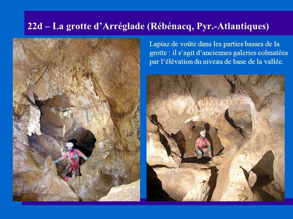 22e – La grotte dArréglade (Rébénacq, Pyr.-Atlantiques) Section de galeries à plafond plat colmatées par des remplissages de graviers.