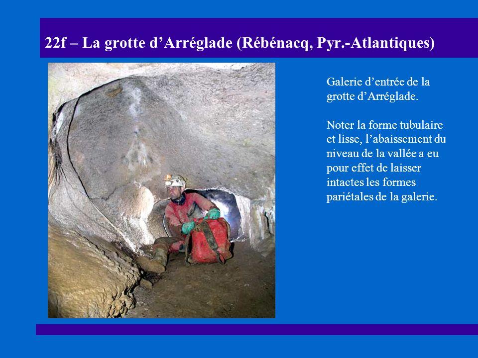 22g – La grotte dArréglade (Rébénacq, Pyr.-Atlantiques) Coupe schématique et sections de la grotte dArréglade