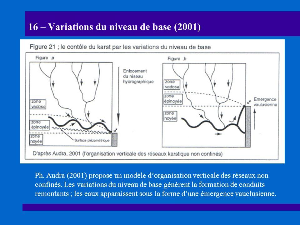 17 – Les puits-émergences fossiles de lArdèche (2002) Trois exemples de conduits ascendants sont proposés dans les gorges de lArdèche (Bigot, 2002, 12e R.