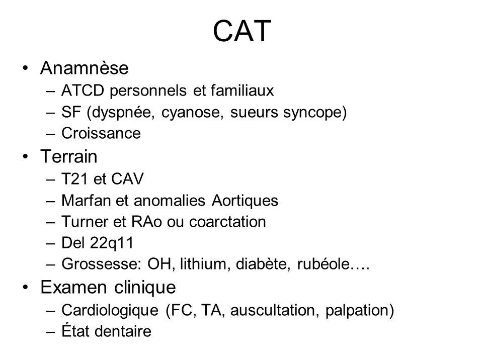 CAT Anamnèse –ATCD personnels et familiaux –SF (dyspnée, cyanose, sueurs syncope) –Croissance Terrain –T21 et CAV –Marfan et anomalies Aortiques –Turn