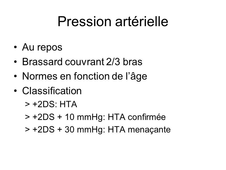 Pression artérielle Au repos Brassard couvrant 2/3 bras Normes en fonction de lâge Classification > +2DS: HTA > +2DS + 10 mmHg: HTA confirmée > +2DS +