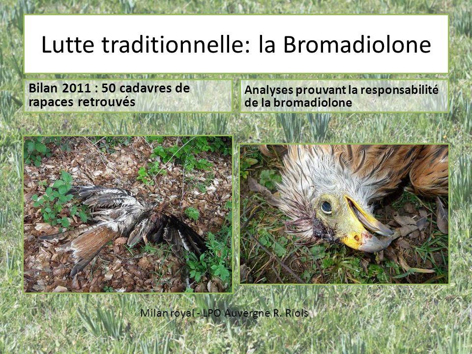 Lutte traditionnelle: la Bromadiolone Bilan 2011 : 50 cadavres de rapaces retrouvés Analyses prouvant la responsabilité de la bromadiolone Milan royal