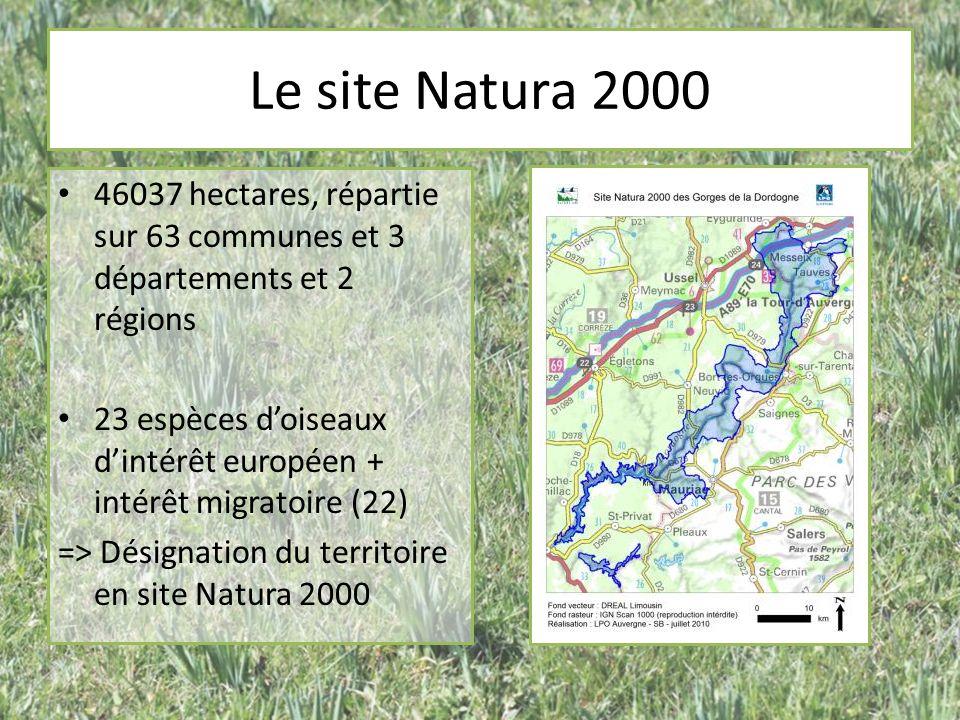Le site Natura 2000 46037 hectares, répartie sur 63 communes et 3 départements et 2 régions 23 espèces doiseaux dintérêt européen + intérêt migratoire