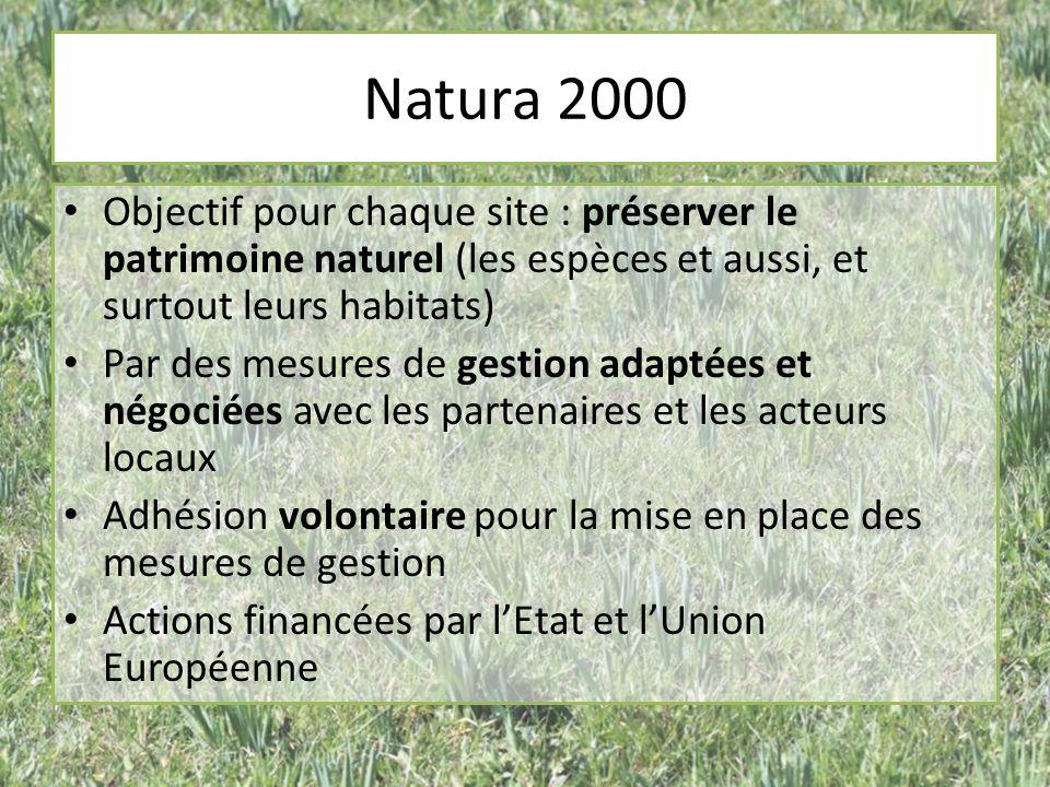 Natura 2000 Objectif pour chaque site : préserver le patrimoine naturel (les espèces et aussi, et surtout leurs habitats) Par des mesures de gestion a