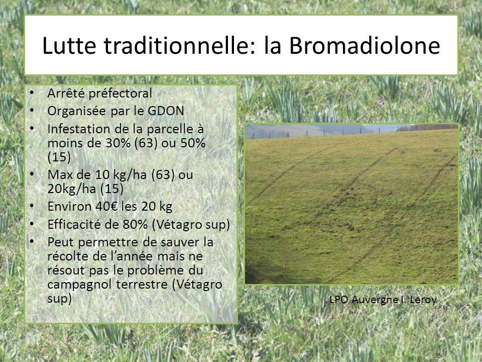 Lutte traditionnelle: la Bromadiolone Arrêté préfectoral Organisée par le GDON Infestation de la parcelle à moins de 30% (63) ou 50% (15) Max de 10 kg