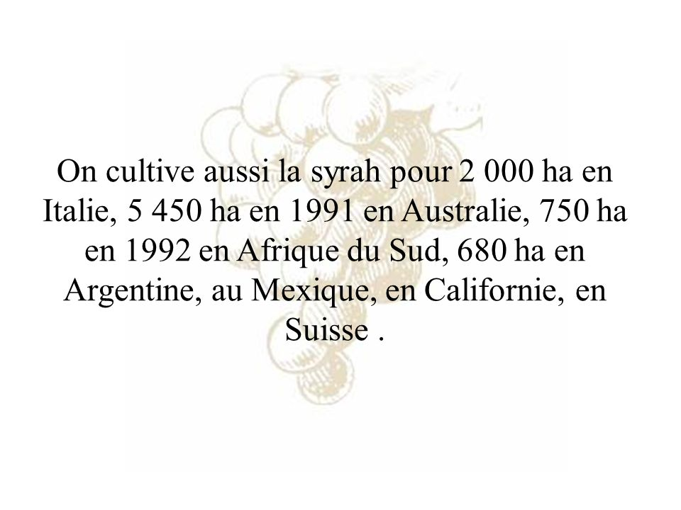 On cultive aussi la syrah pour 2 000 ha en Italie, 5 450 ha en 1991 en Australie, 750 ha en 1992 en Afrique du Sud, 680 ha en Argentine, au Mexique, e