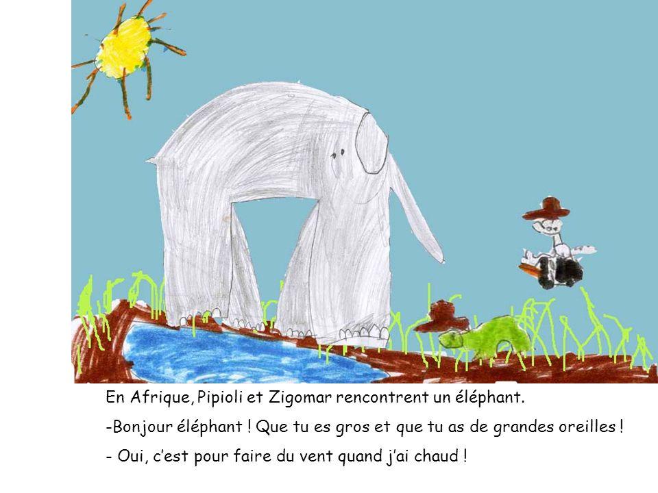 En Afrique, Pipioli et Zigomar rencontrent un éléphant. -Bonjour éléphant ! Que tu es gros et que tu as de grandes oreilles ! - Oui, cest pour faire d