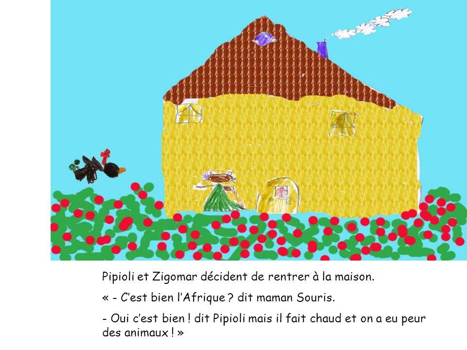 Pipioli et Zigomar décident de rentrer à la maison. « - Cest bien lAfrique ? dit maman Souris. - Oui cest bien ! dit Pipioli mais il fait chaud et on