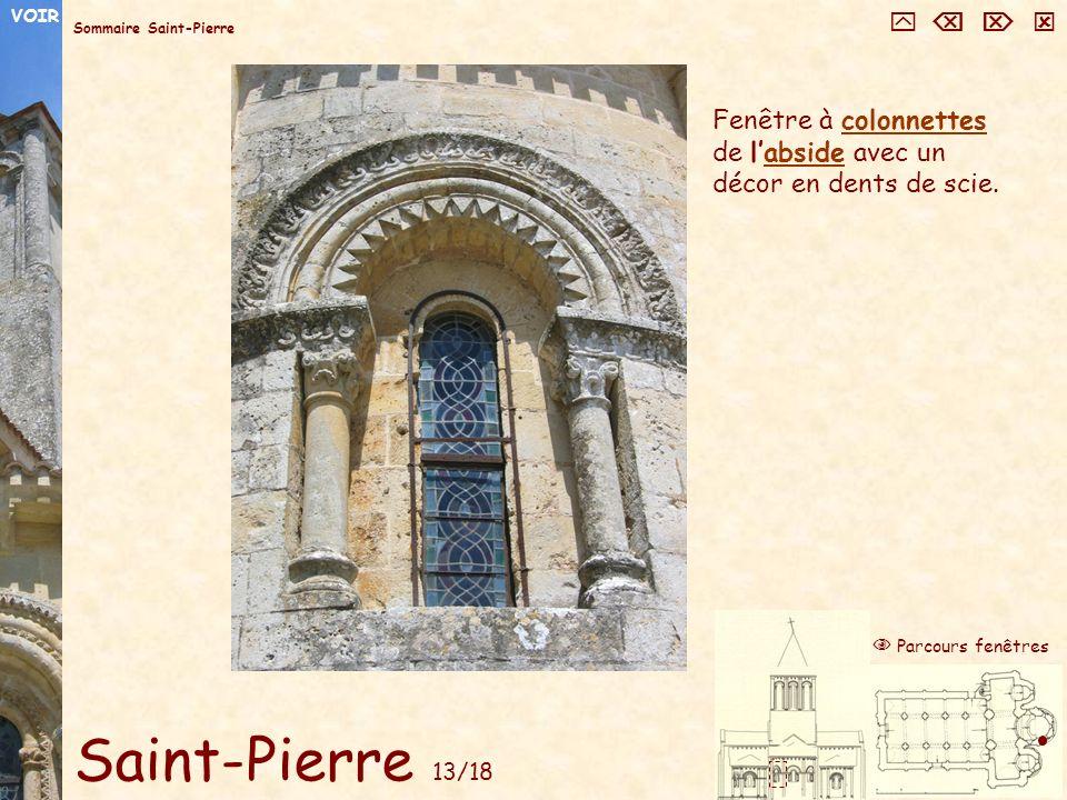 Saint-Pierre 13/18 Fenêtre à colonnettes de labside avec un décor en dents de scie.colonnettesabside Sommaire Saint-Pierre Parcours fenêtres VOIR