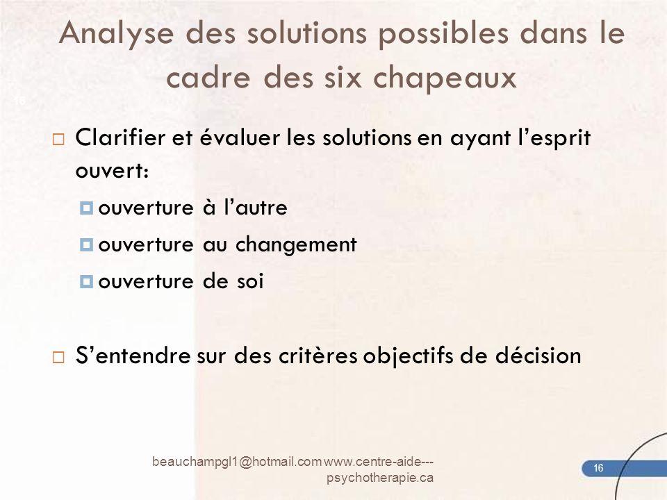 Analyse des solutions possibles dans le cadre des six chapeaux beauchampgl1@hotmail.com www.centre-aide--- psychotherapie.ca 16 Clarifier et évaluer l