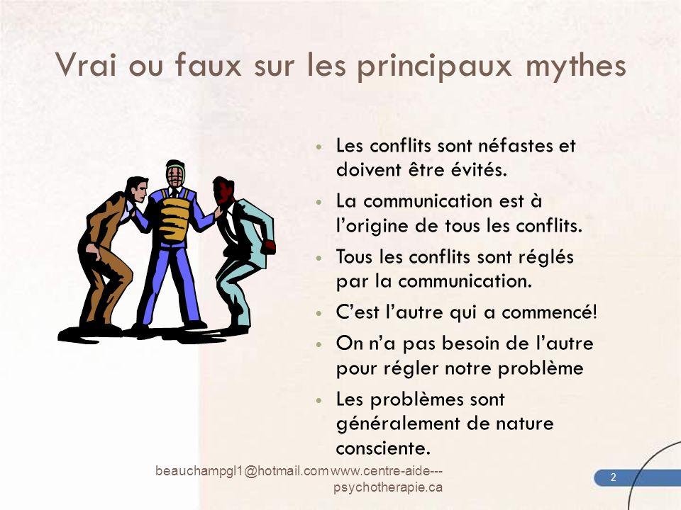 Vrai ou faux sur les principaux mythes Les conflits sont néfastes et doivent être évités. La communication est à lorigine de tous les conflits. Tous l