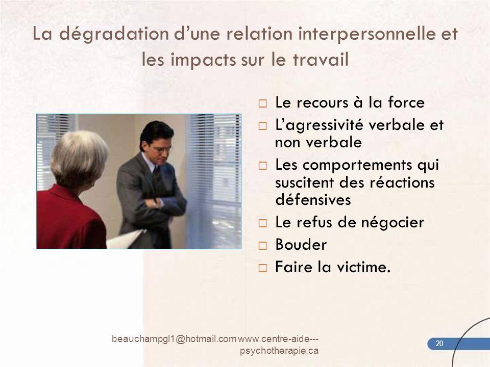 La dégradation dune relation interpersonnelle et les impacts sur le travail Le recours à la force Lagressivité verbale et non verbale Les comportement