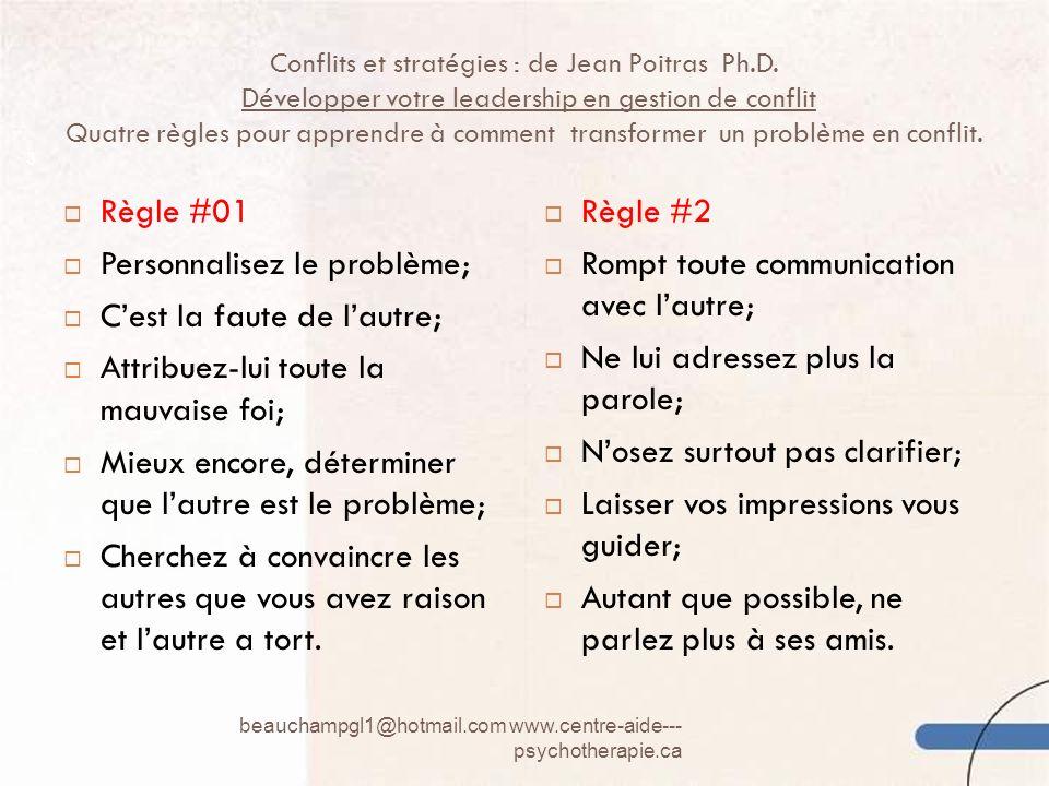 Conflits et stratégies : de Jean Poitras Ph.D. Développer votre leadership en gestion de conflit Quatre règles pour apprendre à comment transformer un