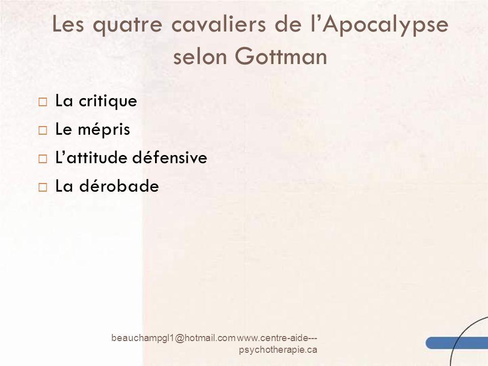 Les quatre cavaliers de lApocalypse selon Gottman beauchampgl1@hotmail.com www.centre-aide--- psychotherapie.ca 6 La critique Le mépris Lattitude défe