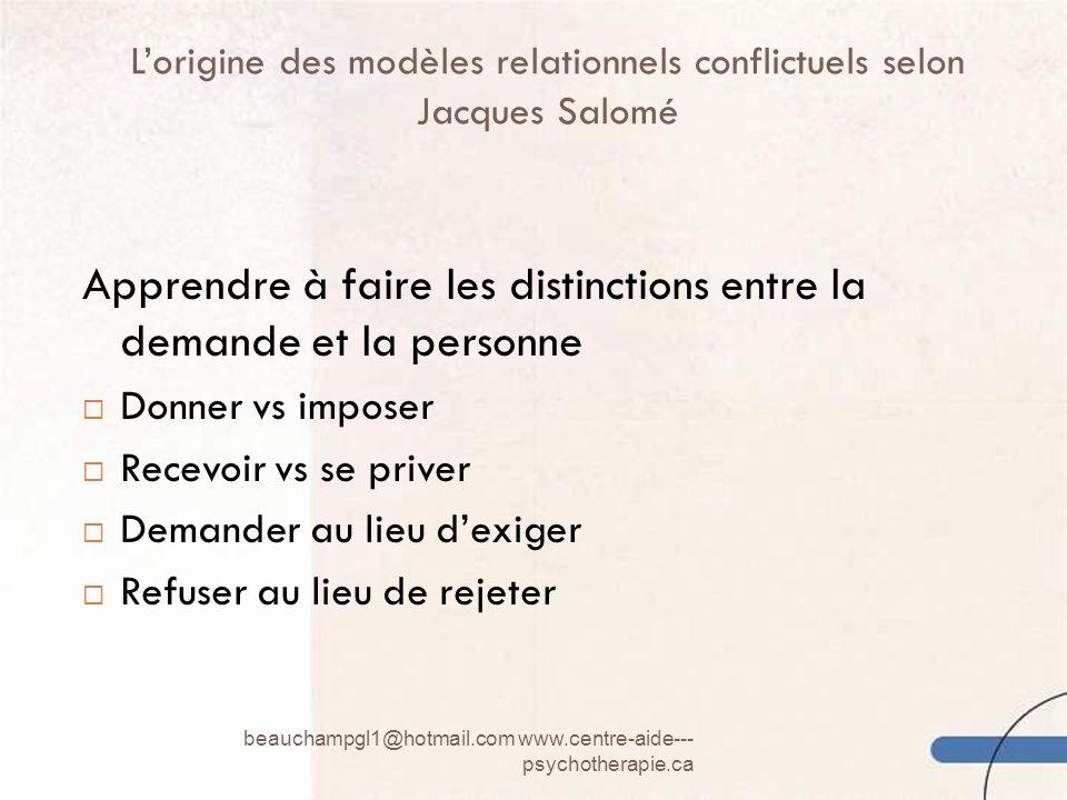 Lorigine des modèles relationnels conflictuels selon Jacques Salomé beauchampgl1@hotmail.com www.centre-aide--- psychotherapie.ca 7 Apprendre à faire