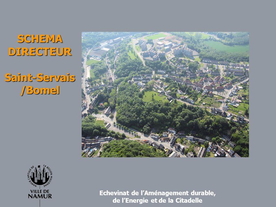 Périmètre de létude Zone urbanisable de 2 quartiers de lAtlas Géostatistique (Bomel-Heuvy et Saint-Servais); En extension : une zone dhabitat et une zone dactivité économique industrielle dans la partie nord du périmètre ; Superficie totale du périmètre: +/- 2,87 km² ; soit +/- 1,6 % du territoire de la commune Population : +/- 8550 habitants; soit +/- 7,9% du total de la population totale