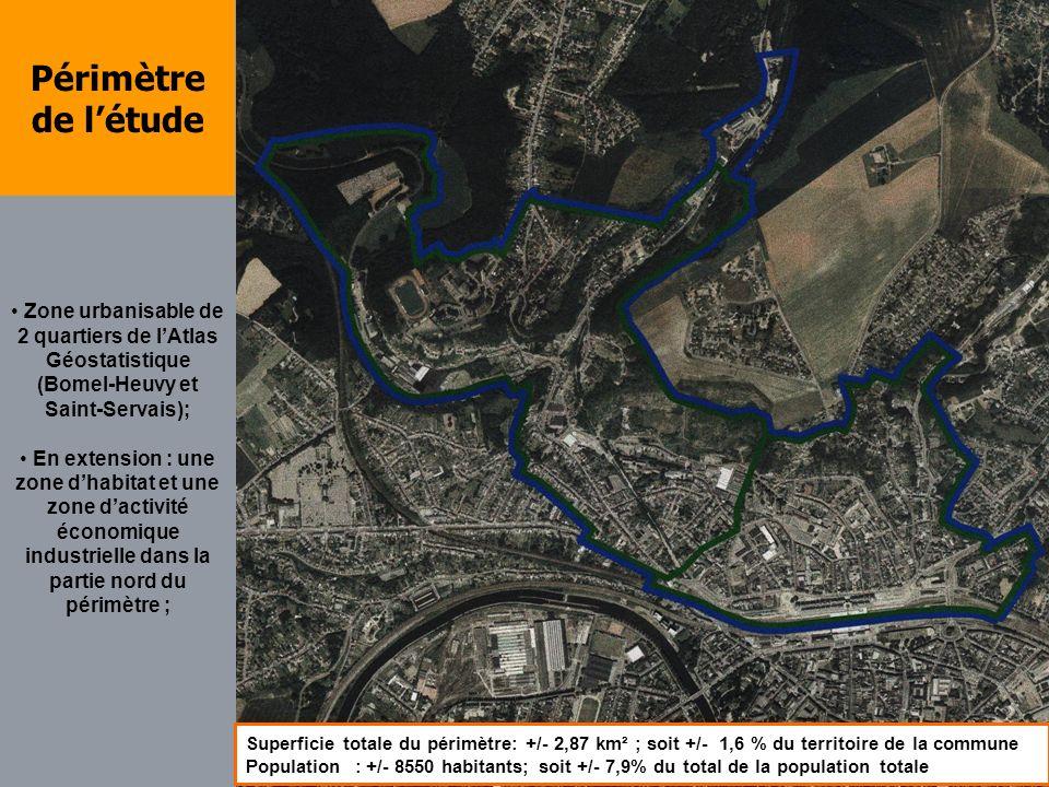 Périmètre de létude Zone urbanisable de 2 quartiers de lAtlas Géostatistique (Bomel-Heuvy et Saint-Servais); En extension : une zone dhabitat et une z