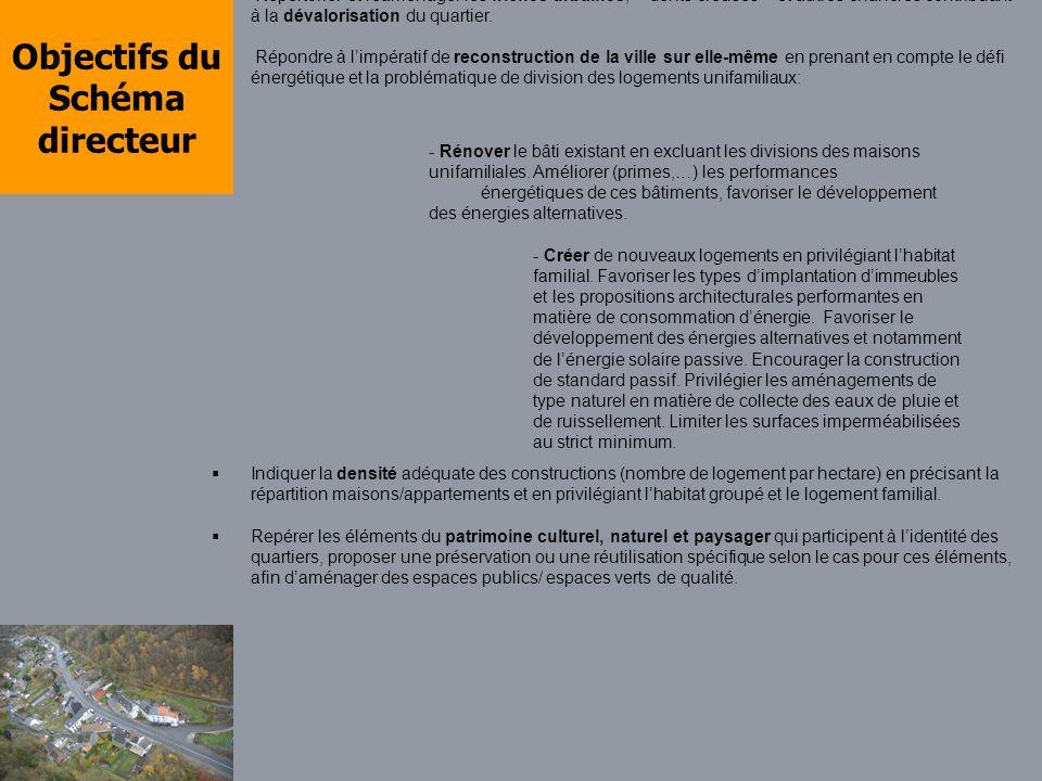 Objectifs du Schéma directeur Valoriser lélément naturel structurant du quartier - le Houyoux - par une remise à ciel ouvert et un aménagement des berges sur trois tronçons définis par la Ville.