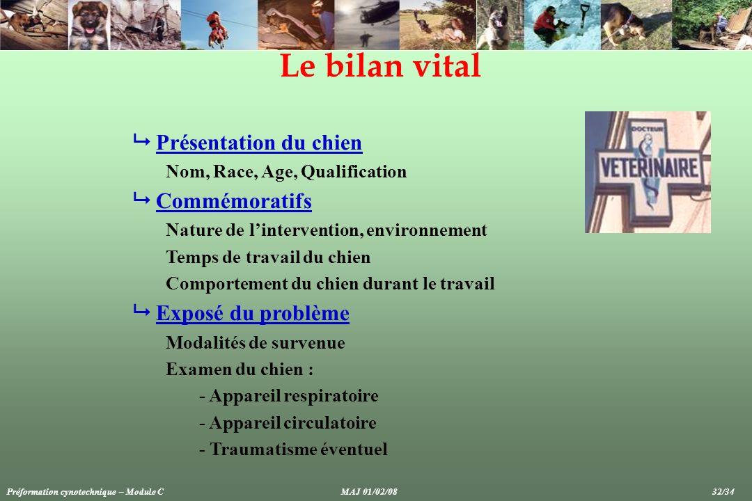 Le bilan vital Présentation du chien Nom, Race, Age, Qualification Commémoratifs Nature de lintervention, environnement Temps de travail du chien Comp