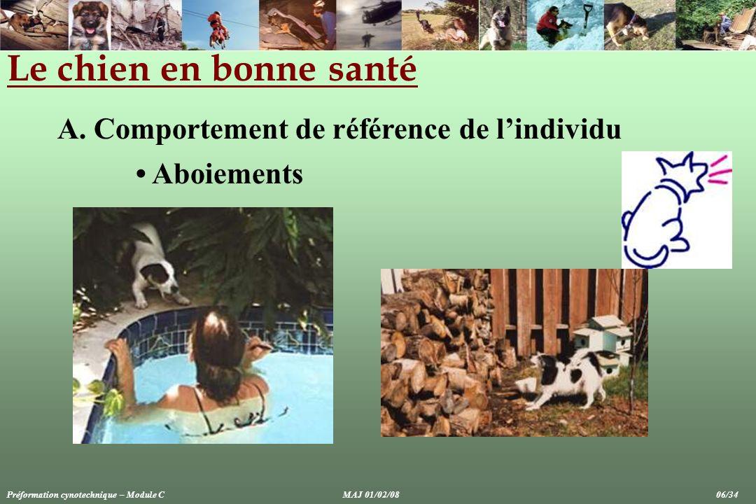 Le chien en bonne santé A. Comportement de référence de lindividu Aboiements Préformation cynotechnique – Module CMAJ 01/02/08 06/34
