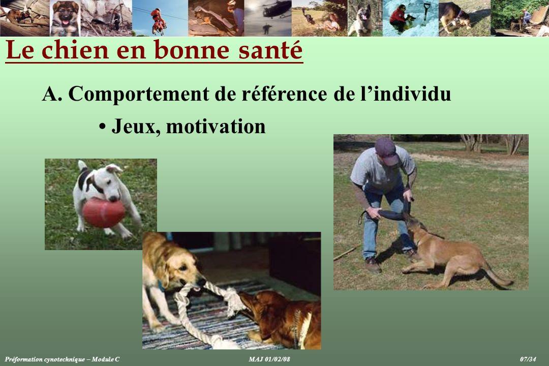 Le chien en bonne santé A. Comportement de référence de lindividu Jeux, motivation Préformation cynotechnique – Module CMAJ 01/02/08 07/34