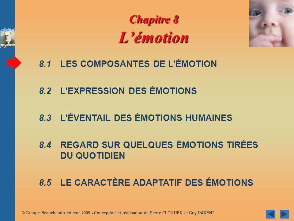 Chapitre 8 Lémotion 8.1 LES COMPOSANTES DE LÉMOTION 8.2 LEXPRESSION DES ÉMOTIONS 8.3 LÉVENTAIL DES ÉMOTIONS HUMAINES 8.4REGARD SUR QUELQUES ÉMOTIONS TIRÉES DU QUOTIDIEN 8.5LE CARACTÈRE ADAPTATIF DES ÉMOTIONS