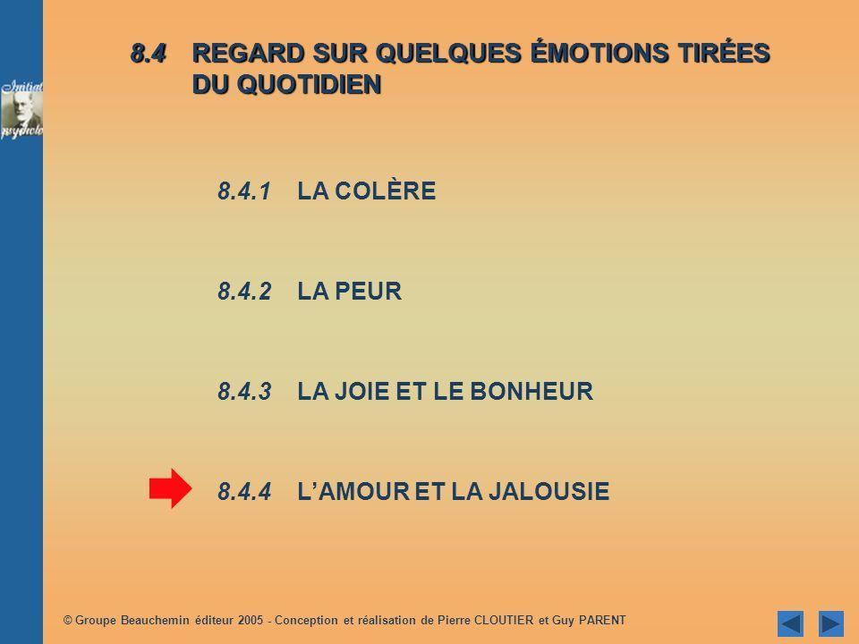 © Groupe Beauchemin éditeur 2005 - Conception et réalisation de Pierre CLOUTIER et Guy PARENT Joie satisfaction Joie : associée à un événement plaisan