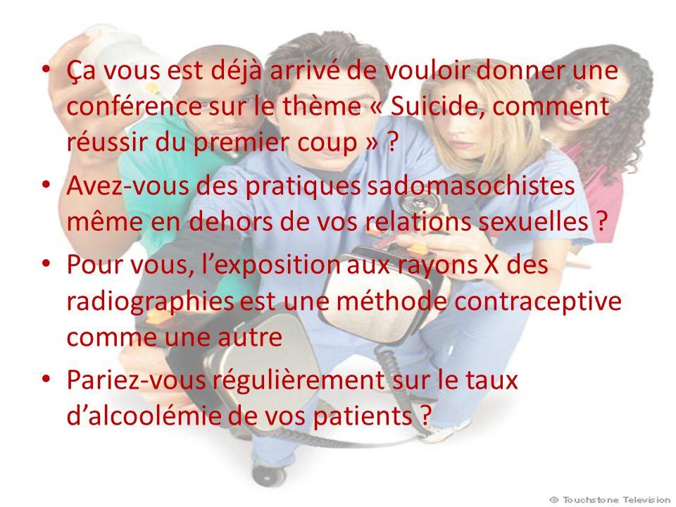 Ça vous est déjà arrivé de vouloir donner une conférence sur le thème « Suicide, comment réussir du premier coup » .