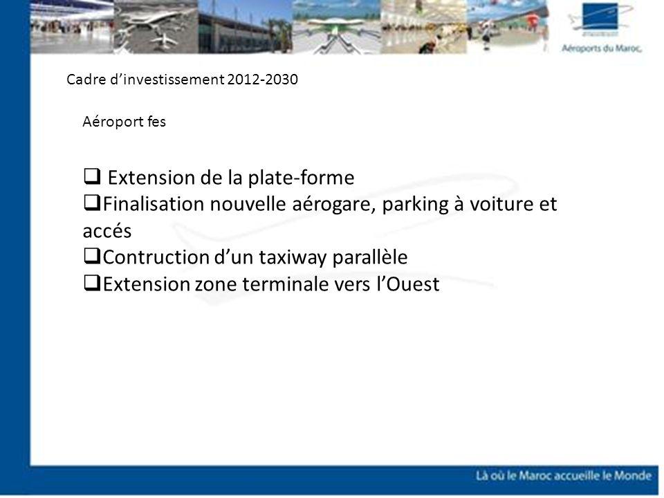 Extension de la plate-forme Finalisation nouvelle aérogare, parking à voiture et accés Contruction dun taxiway parallèle Extension zone terminale vers