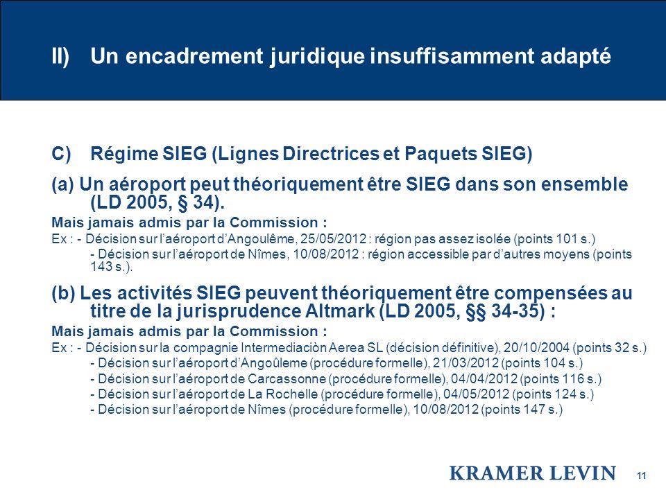11 II) Un encadrement juridique insuffisamment adapté C) Régime SIEG (Lignes Directrices et Paquets SIEG) (a) Un aéroport peut théoriquement être SIEG dans son ensemble (LD 2005, § 34).