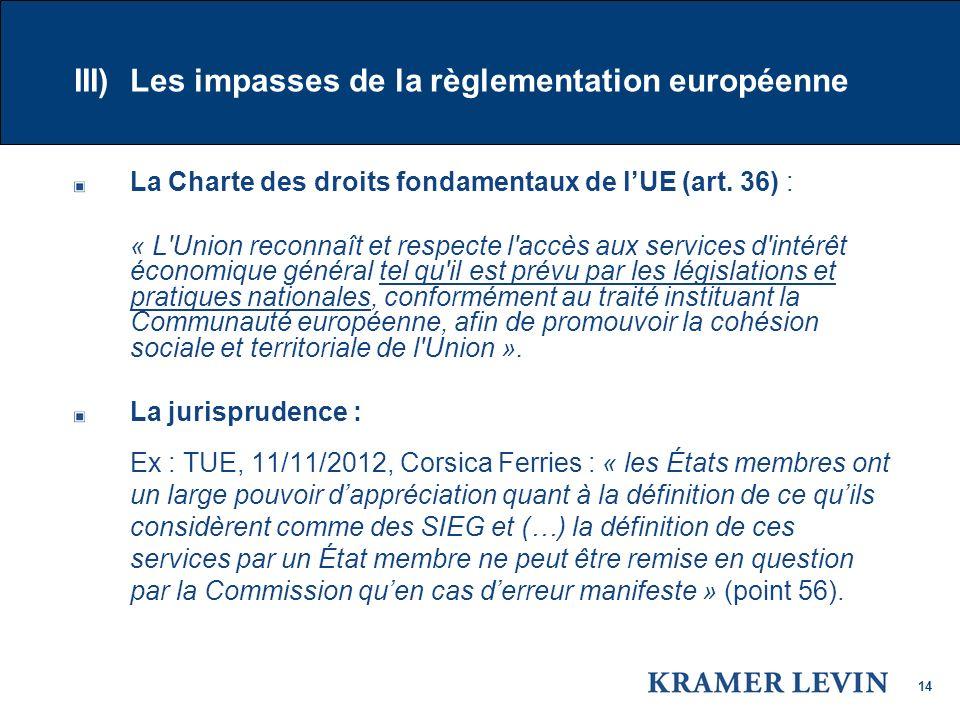 14 III) Les impasses de la règlementation européenne La Charte des droits fondamentaux de lUE (art.