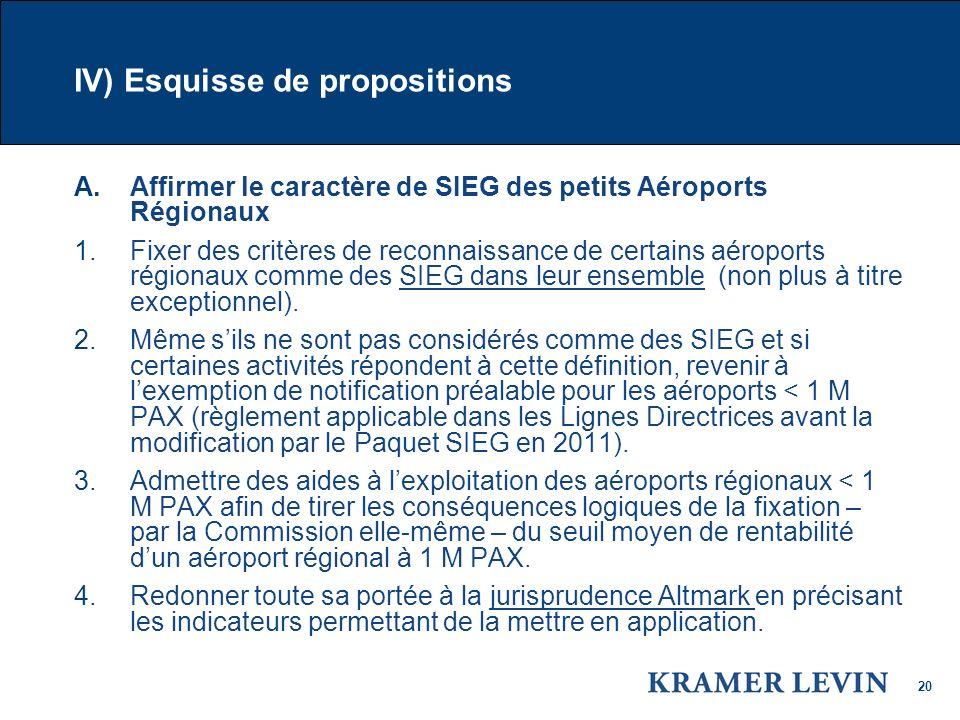 20 IV) Esquisse de propositions A.Affirmer le caractère de SIEG des petits Aéroports Régionaux 1.Fixer des critères de reconnaissance de certains aéroports régionaux comme des SIEG dans leur ensemble (non plus à titre exceptionnel).