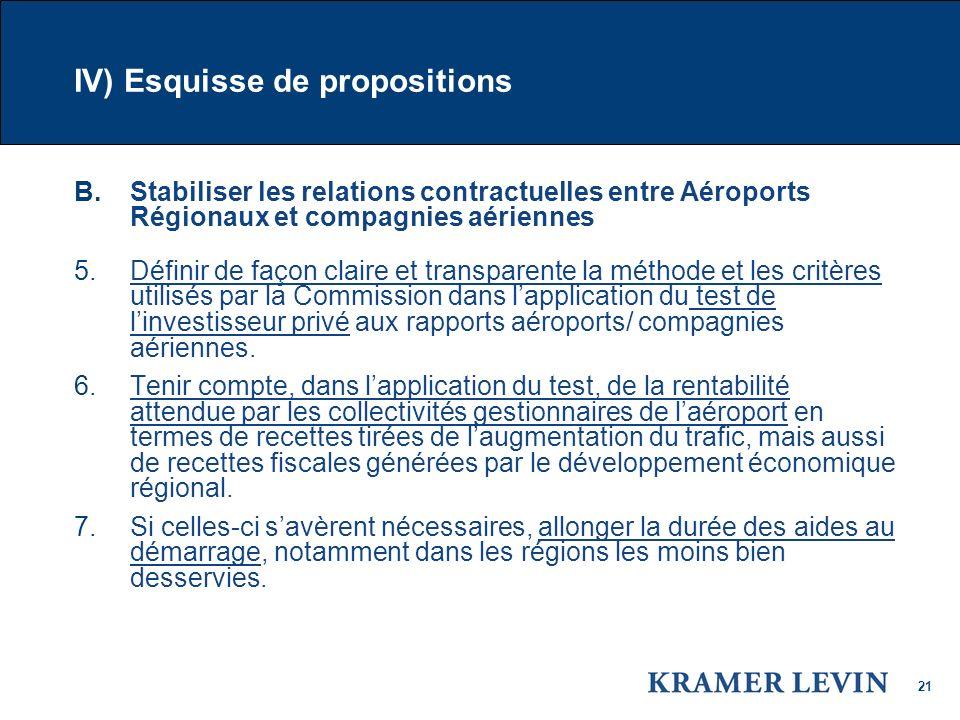 21 IV) Esquisse de propositions B.Stabiliser les relations contractuelles entre Aéroports Régionaux et compagnies aériennes 5.Définir de façon claire et transparente la méthode et les critères utilisés par la Commission dans lapplication du test de linvestisseur privé aux rapports aéroports/ compagnies aériennes.