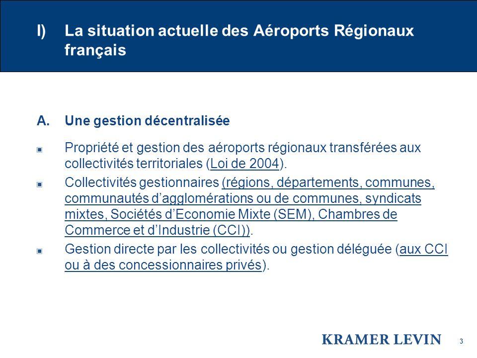 3 I) La situation actuelle des Aéroports Régionaux français A.