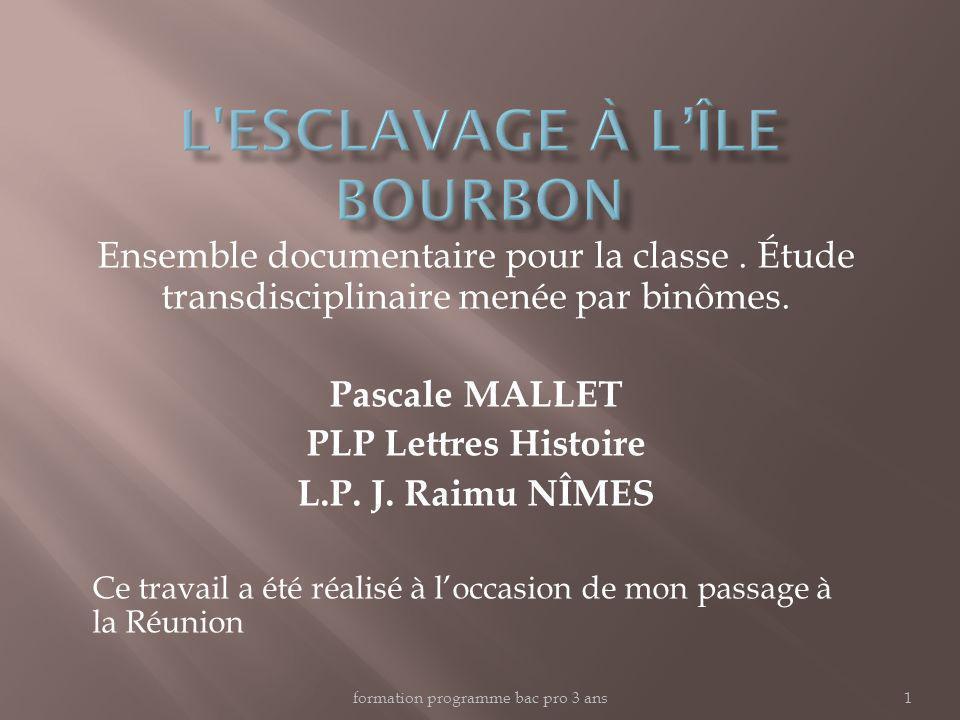 formation programme bac pro 3 ans1 Ensemble documentaire pour la classe. Étude transdisciplinaire menée par binômes. Pascale MALLET PLP Lettres Histoi
