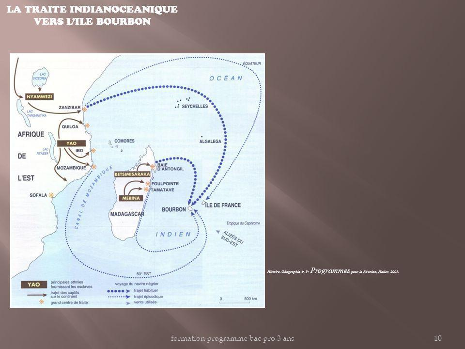 LA TRAITE INDIANOCEANIQUE VERS LILE BOURBON Histoire-Géographie 4 e -3 e. Programmes pour la Réunion, Hatier, 2001. formation programme bac pro 3 ans1