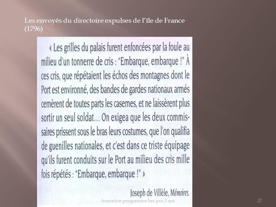 Les envoyés du directoire expulses de lîle de France (1796) formation programme bac pro 3 ans27