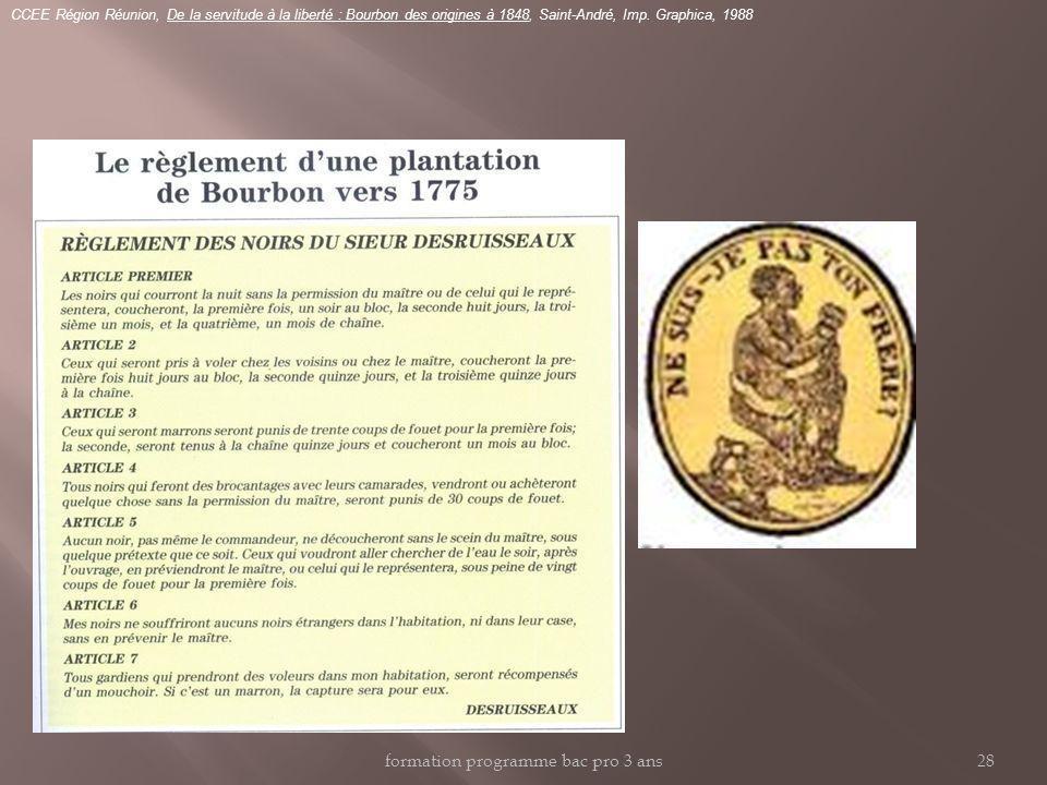 CCEE Région Réunion, De la servitude à la liberté : Bourbon des origines à 1848, Saint-André, Imp. Graphica, 1988 formation programme bac pro 3 ans28