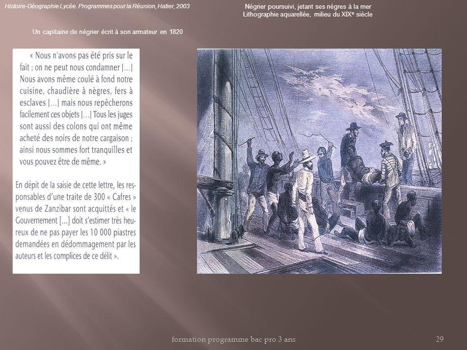 Un capitaine de négrier écrit à son armateur en 1820 Négrier poursuivi, jetant ses nègres à la mer Lithographie aquarellée, milieu du XIX e siècle Histoire-Géographie Lycée.