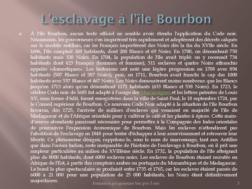 À l'île Bourbon, aucun texte officiel ne semble avoir étendu l'application du Code noir. Néanmoins, les gouverneurs s'en inspirèrent très rapidement e