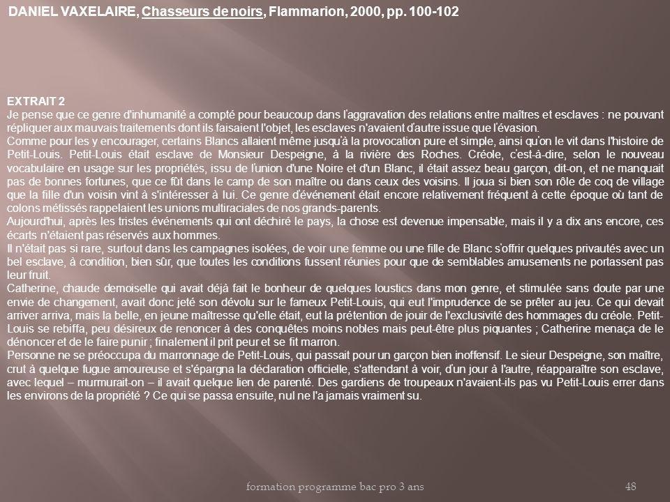 DANIEL VAXELAIRE, Chasseurs de noirs, Flammarion, 2000, pp. 100-102 EXTRAIT 2 Je pense que ce genre d'inhumanité a compté pour beaucoup dans l ' aggra