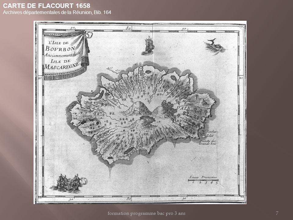 CARTE DE FLACOURT 1658 Archives départementales de la Réunion, Bib.