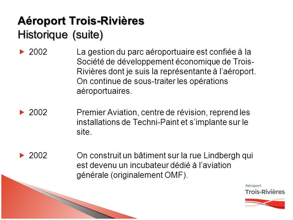 Aéroport Trois-Rivières Historique (suite) 2002La gestion du parc aéroportuaire est confiée à la Société de développement économique de Trois- Rivières dont je suis la représentante à laéroport.