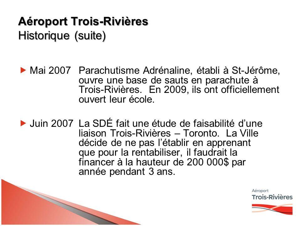 Aéroport Trois-Rivières Historique (suite) Mai 2007Parachutisme Adrénaline, établi à St-Jérôme, ouvre une base de sauts en parachute à Trois-Rivières.