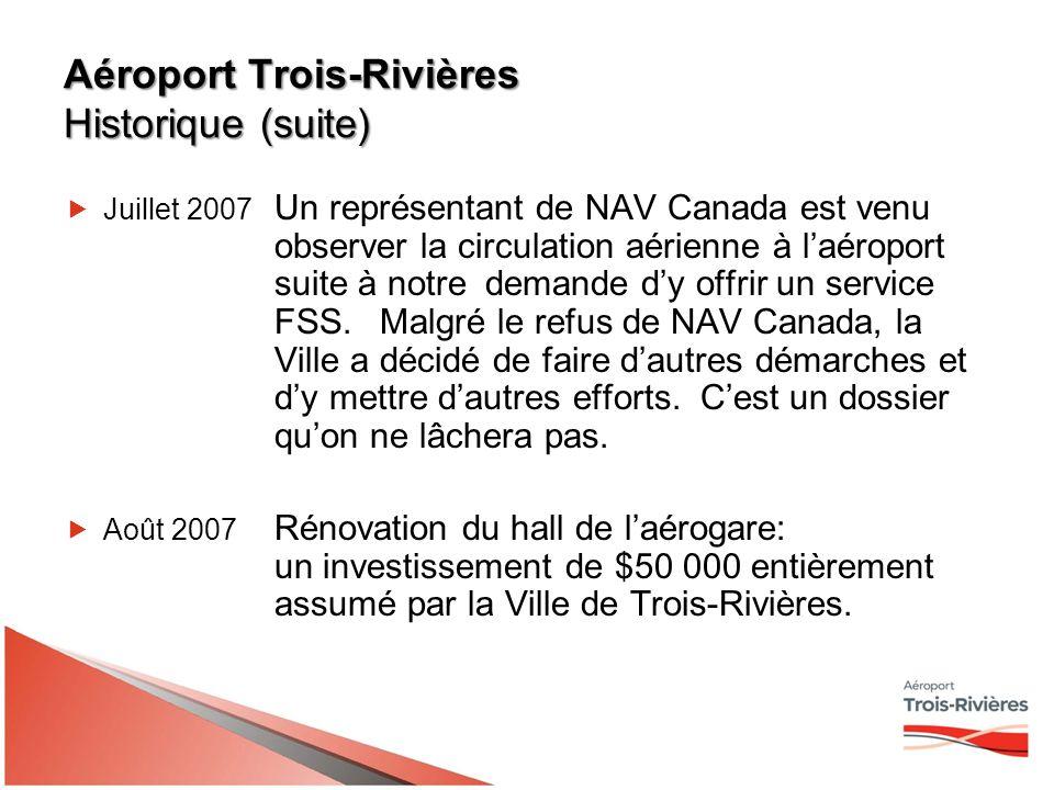 Aéroport Trois-Rivières Historique (suite) 2008Le ministre du Travail et ministre de Développement économique Canada, M.