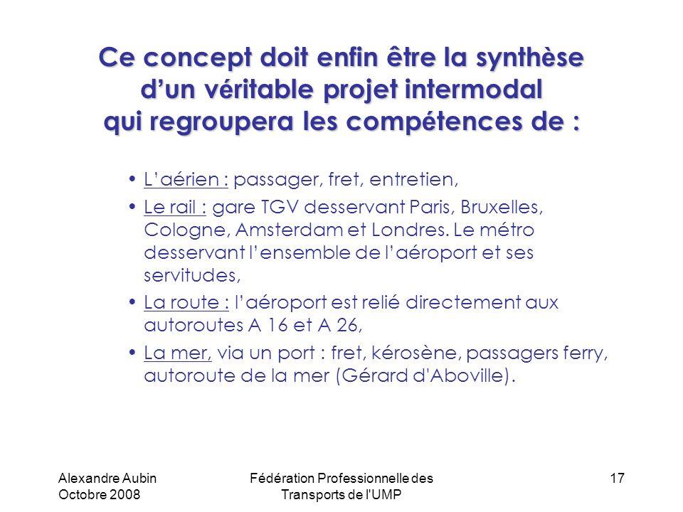 Alexandre Aubin Octobre 2008 Fédération Professionnelle des Transports de l'UMP 17 Ce concept doit enfin être la synth è se d un v é ritable projet in