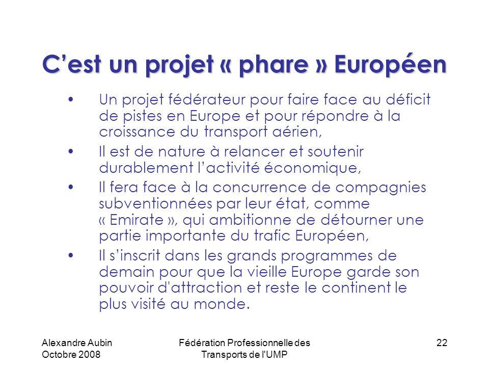 Alexandre Aubin Octobre 2008 Fédération Professionnelle des Transports de l'UMP 22 Cest un projet « phare » Européen Un projet fédérateur pour faire f