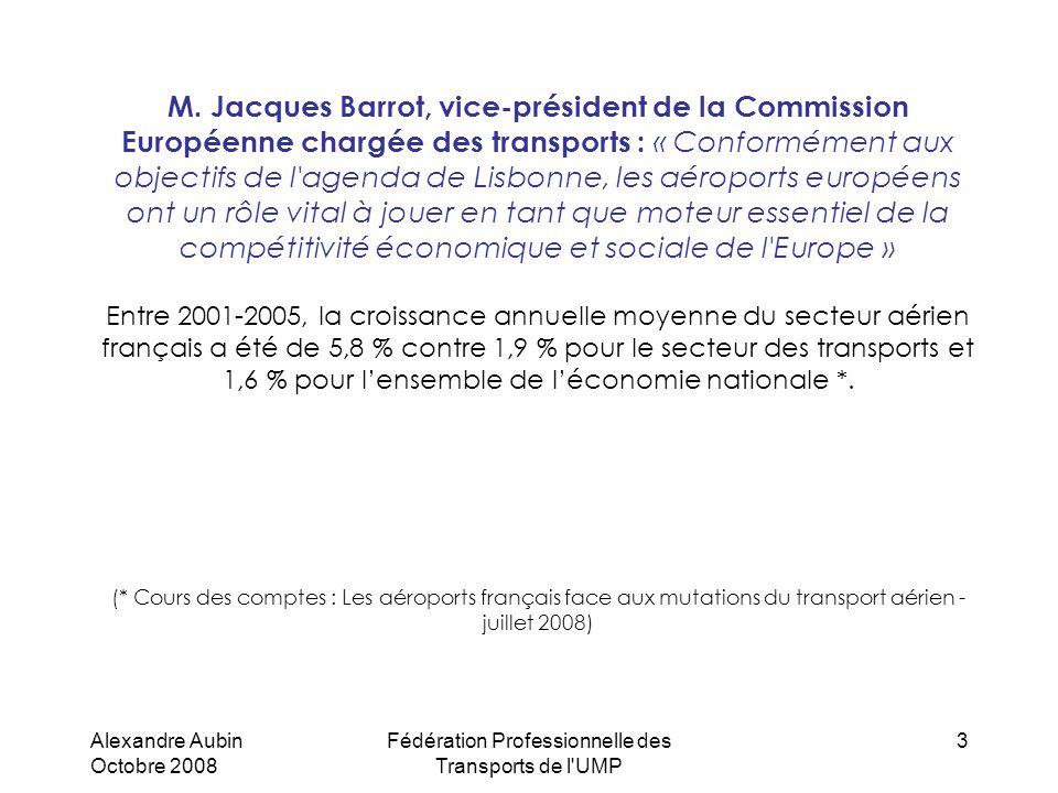 Alexandre Aubin Octobre 2008 Fédération Professionnelle des Transports de l'UMP 3 M. Jacques Barrot, vice-président de la Commission Européenne chargé