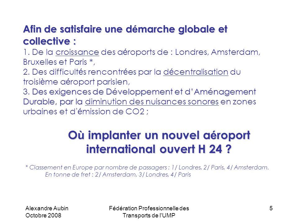 Alexandre Aubin Octobre 2008 Fédération Professionnelle des Transports de l UMP 16 Écologie, Développement et Aménagement Durable Le projet est intégré dans le programme de ciel unique Européen SESAR (Single European Sky ATM Research),Le projet est intégré dans le programme de ciel unique Européen SESAR (Single European Sky ATM Research), Les trajectoires de vol seront optimisées (RNAV & GNSS) pour satisfaire les exigences de nuisances sonores et de consommation carburant (Arrivées et Départs au-dessus de la mer, partent et proviennent du Nord),Les trajectoires de vol seront optimisées (RNAV & GNSS) pour satisfaire les exigences de nuisances sonores et de consommation carburant (Arrivées et Départs au-dessus de la mer, partent et proviennent du Nord), Lensemble de laéroport vise lautonomie énergétique (électricité et chauffage) en faisant appel aux énergies renouvelables comme le solaire sur les aérogares et autres bâtiments, ainsi quun champs d éoliennes en mer,Lensemble de laéroport vise lautonomie énergétique (électricité et chauffage) en faisant appel aux énergies renouvelables comme le solaire sur les aérogares et autres bâtiments, ainsi quun champs d éoliennes en mer, Récupération et utilisation de leau de pluie.Récupération et utilisation de leau de pluie.